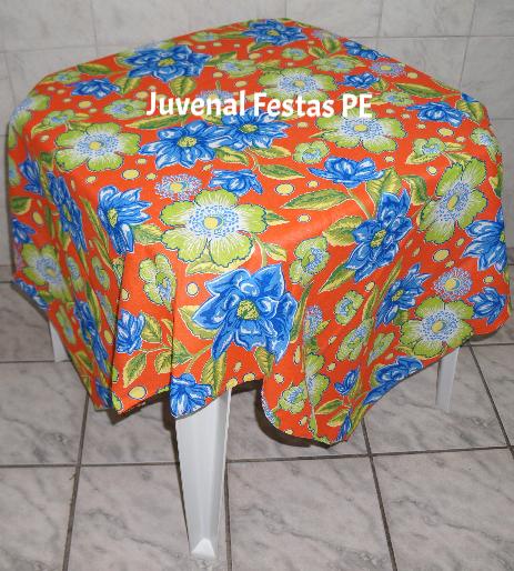 Toalha de chita floral laranja