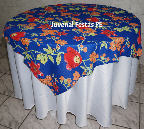 Toalha de chita floral azul