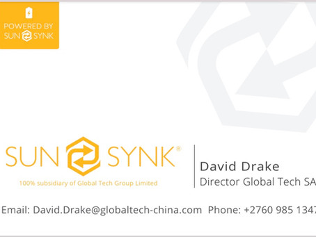 I would like to introduce David Drake, the new Global Tech / Sunsynk Director for Africa
