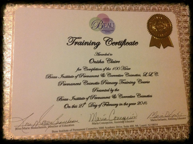 Permanent Makeup Certificate