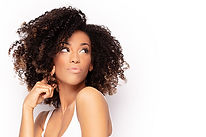 Young fashionable afro girl posing. Whit