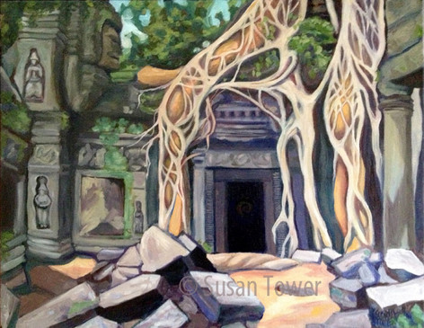 Angor Wat Portal, a sacred site painting by SusanTower, visionary artist