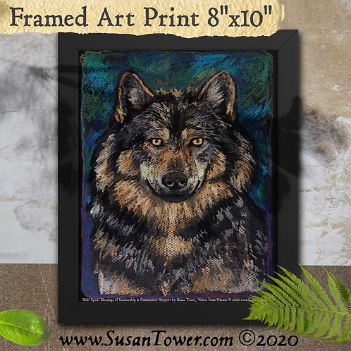 Framed Wolf Art Print 8x10