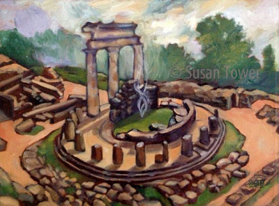 The Oracle Delphi, a sacred site painting by Susan Tower, visionary artist