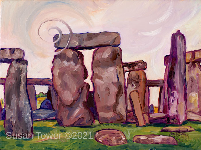 """""""Stonehenge Spiral"""" a sacred site painting by Susan Tower, visionary artist"""