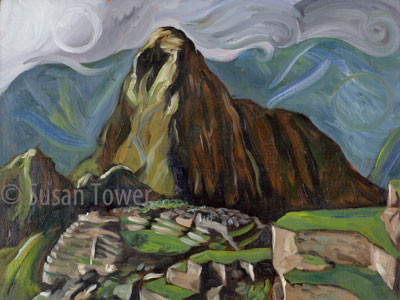 Machu Picchu Temple to the Moon, sacred site painting by Susan Tower, visionary artist