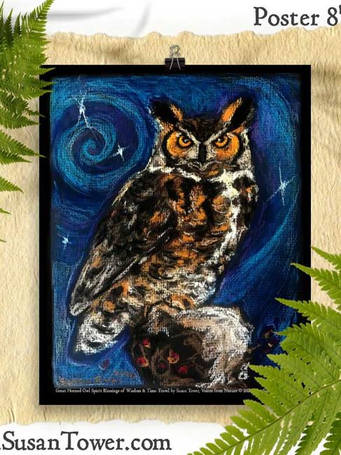 Owl Totem Art Print 8x10 by Susan Tower