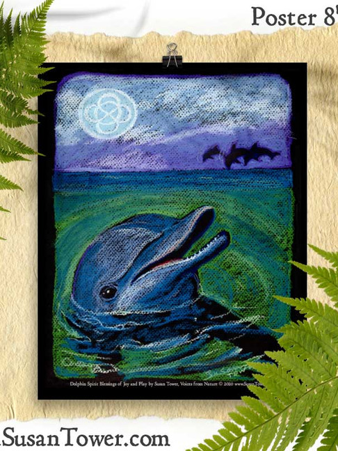 Dolphin Totem Art Print 8x10 by Susan Tower