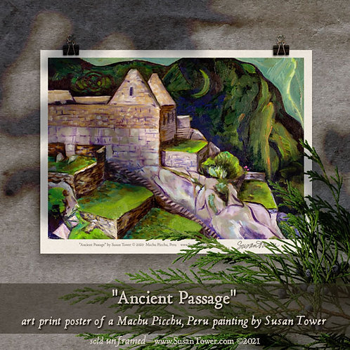 Poster - Ancient Passage, Machu Picchu painting art print 12x16
