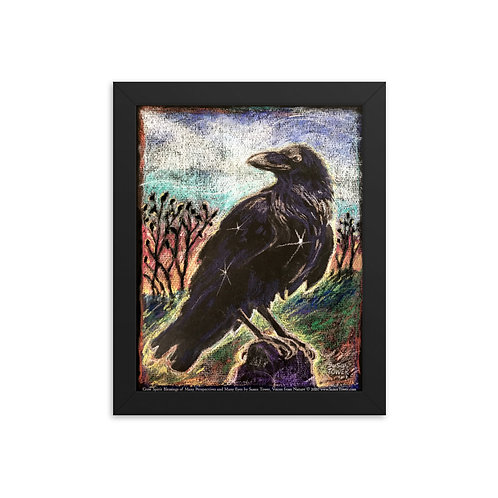 Framed Crow Totem Art Print 8x10