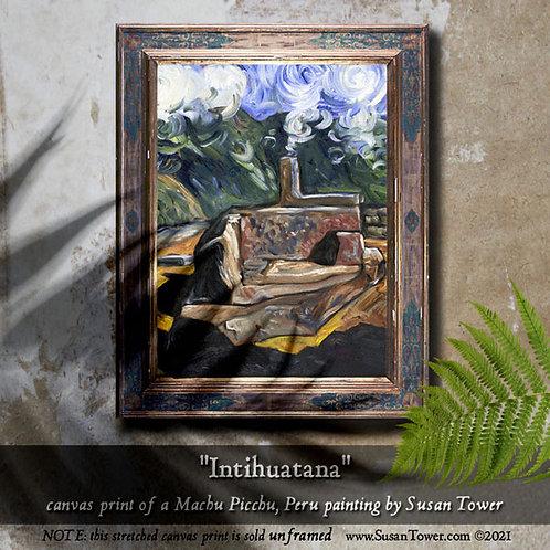 Intihuatana, Machu Picchu painting canvas print 12x16