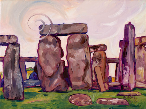 Stonehenge Spiral sacred site painting by Susan Tower, visionary artist