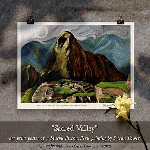 Poster - Sacred Valley, Machu Picchu painting art print 12x16