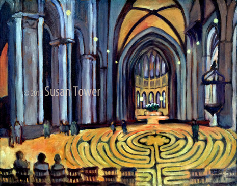 Chartres Cathedral Labrynth a sacred site painting by Susan Tower