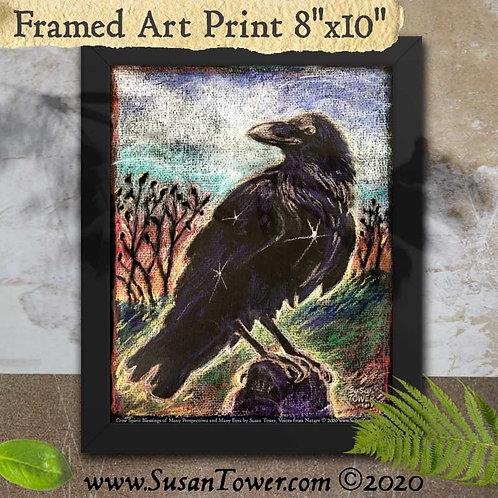 Framed Crow Art Print 8x10