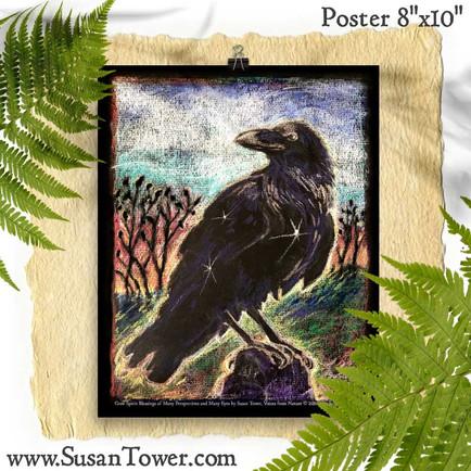 Crow Totem Art Print 8x10 by Susan Tower