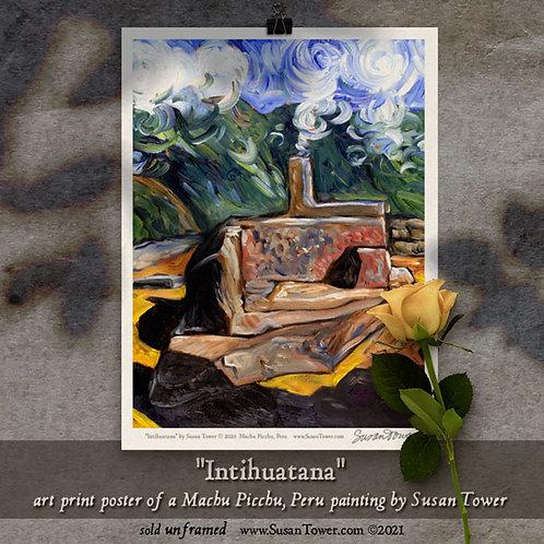 Poster - Intihuatana, Machu Picchu painting art print 12x16