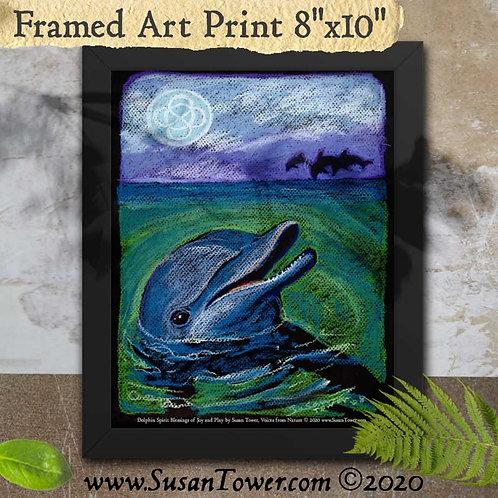 Framed Dolphin Art Print 8x10