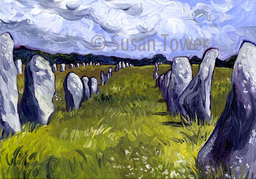 Carnac Standing Stone Rows, a sacred site painting by Susan Tower