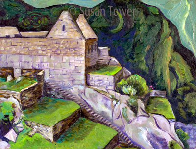 Machu Picchu Ancient Passage, a sacred site painting by Susan Tower, visionary artist