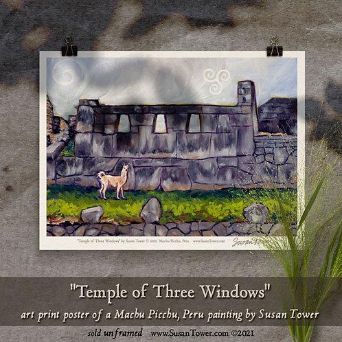 Poster - Temple of 3 Windows, Machu Picchu art print 12x16