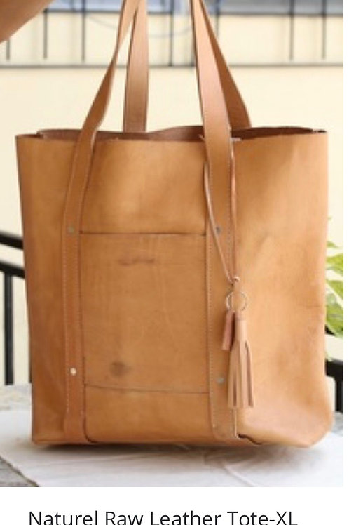 Natural Raw Leather Tote-XL