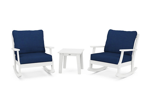 POLYWOOD® Braxton 3-Piece Deep Seating Rocker Set in White