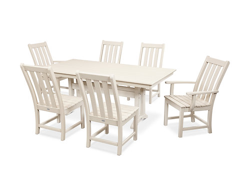 POLYWOOD® Vineyard 7-Piece Farmhouse Trestle Dining Set
