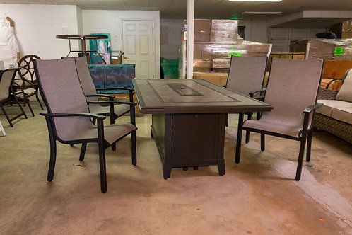 Sunvilla Augusta Fire Pit Table w/ 4 chairs