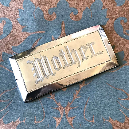 Antique Silver Casket Plaque: Mother