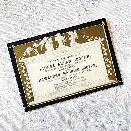 Antique Embossed Memorial Card