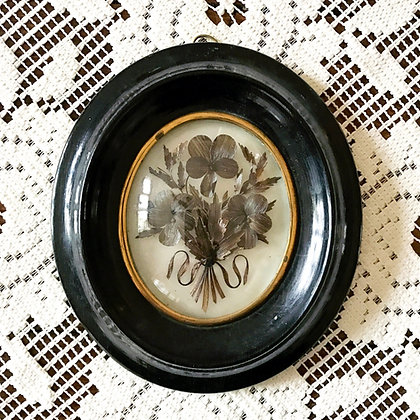 French Victorian Mourning Hair Art: Triple Flower Bouquet