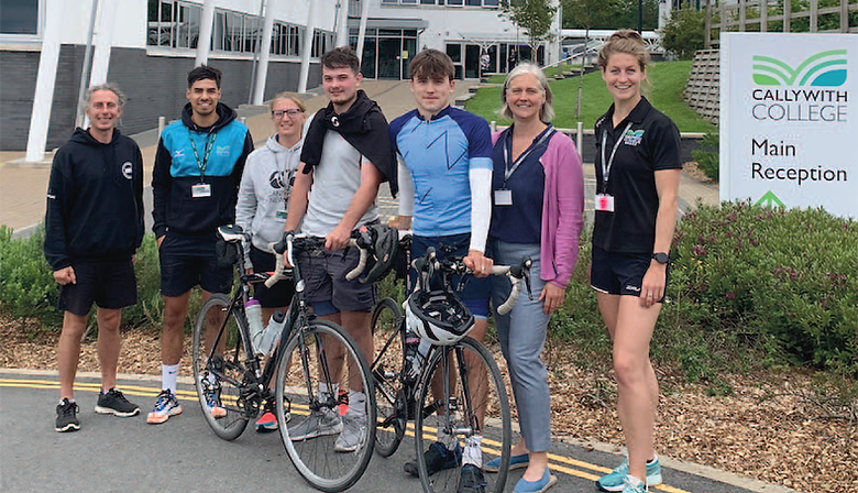 Callywith College student Leon Cherrington-Jones has finished his cycle from John O'Groats to Lands End to raise money for Chae, fellow student and the brother of his friend Tage, who completed the last leg with him; pictured, Leon stopping off at the college.