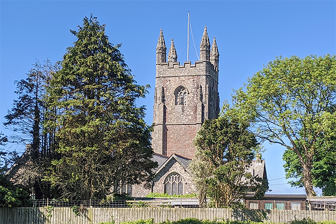 St Mary's and St Julian's Church in Maker, one of the sights on a circular walk near Saltash, suggested by walking route app iWalk Cornwall
