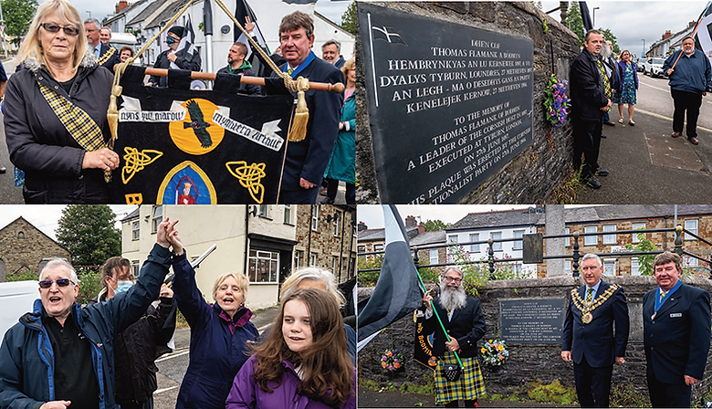 The group converged at the Thomas Flamank memorial by Lower Bore Street. Former Bodmin MP and joint rebellion leader Flamank was executed in London on June 27, 1497. Photos Paul Williams