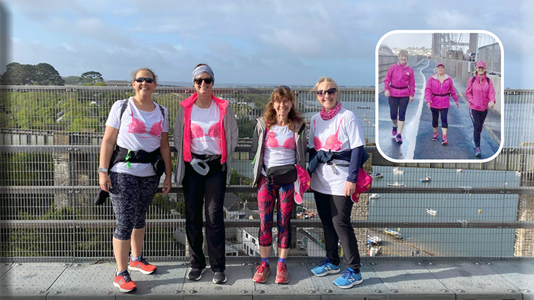 Angie Walsh, Clair McCarthy, Kaye Wills and Maggie Bunting got out and about; inset, Julia Peggs, Brenda Ryan and Lorna Stubbs got out and about also took on the challenge.