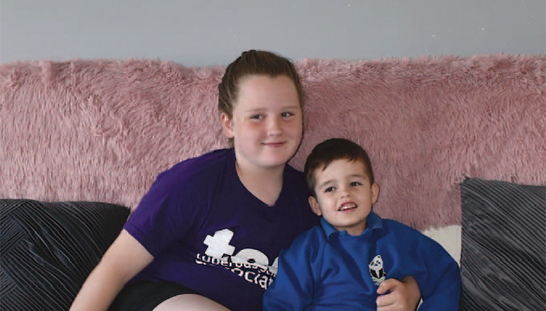 Seren Griffiths, left, ran one and a half miles each day for 30 days to raise money and awareness for Harvey, right, who has tuberous sclerosis complex. Seren has been friends with Harvey's older brother Jayden for years and she wanted to help out however she could PICTURE: OLLIE YOUNG