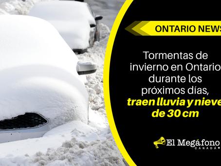 Tormentas de invierno en Ontario durante los próximos días, traen lluvia y nieve de 30 cm