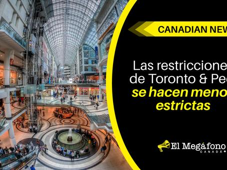 Las restricciones de Toronto y Peel se hacen menos estrictas