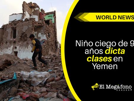 Niño ciego de 9 años dicta clases en Yemen