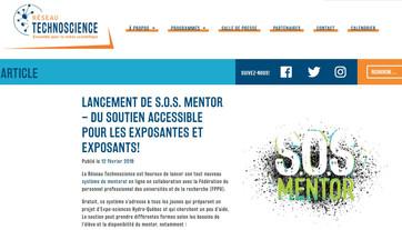 LANCEMENT DE S.O.S. MENTOR – DU SOUTIEN ACCESSIBLE POUR LES EXPOSANTES ET EXPOSANTS des Expo-science