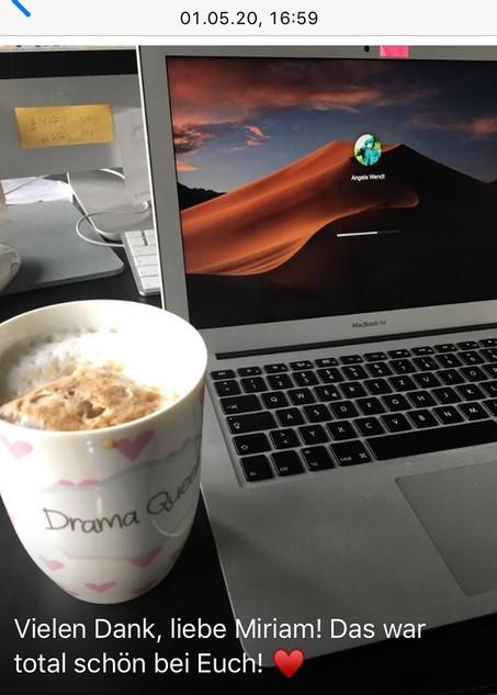 Ein Gast der Kaffeetrinken mit Freunden Performance schickte mir dieses Bild nach ihrem Besuch.