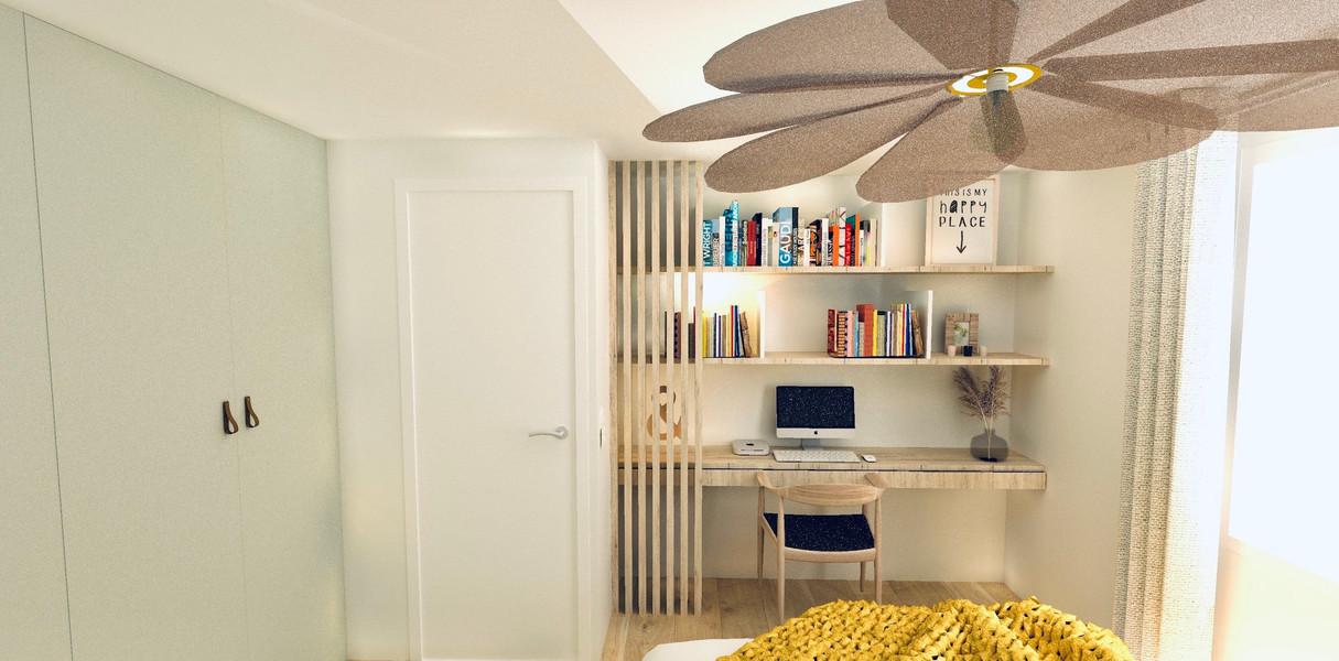 Un espace bureau lecture avec claustra