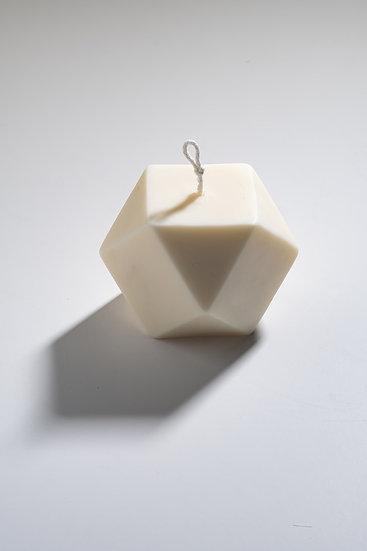 ivory polyhedron candle.