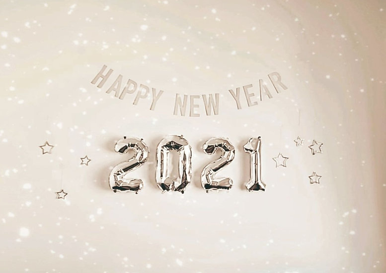 'happy new year' banner.