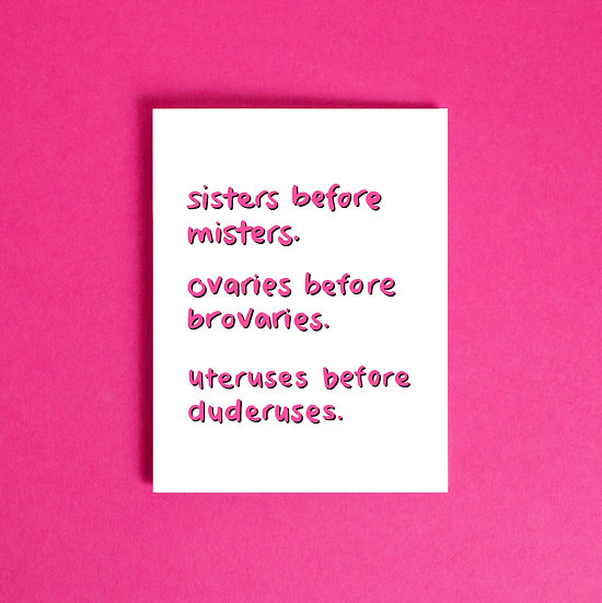 sisters before misters card.