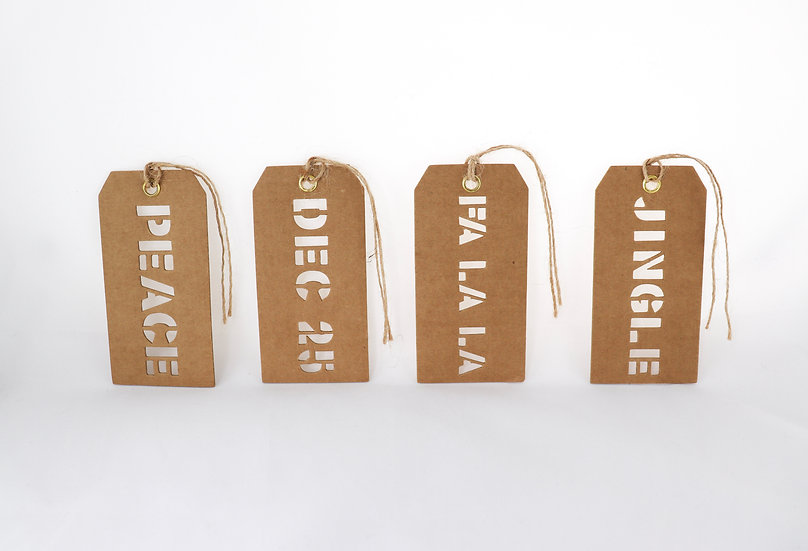 assorted cut out holiday tags.