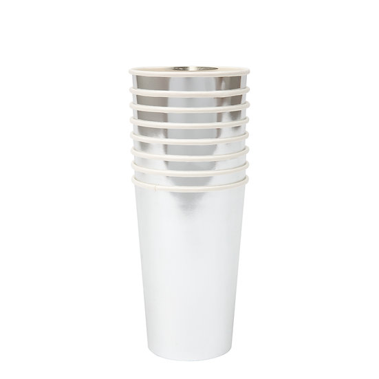 silver highball cups.