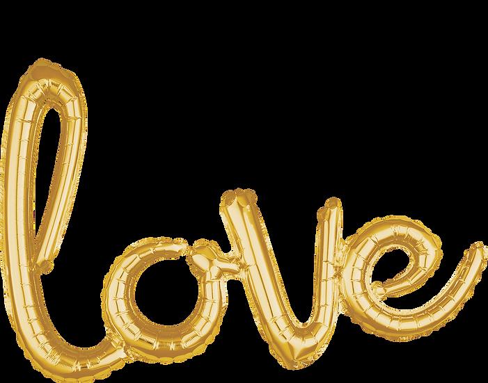 love letters gold foil balloon phrase.