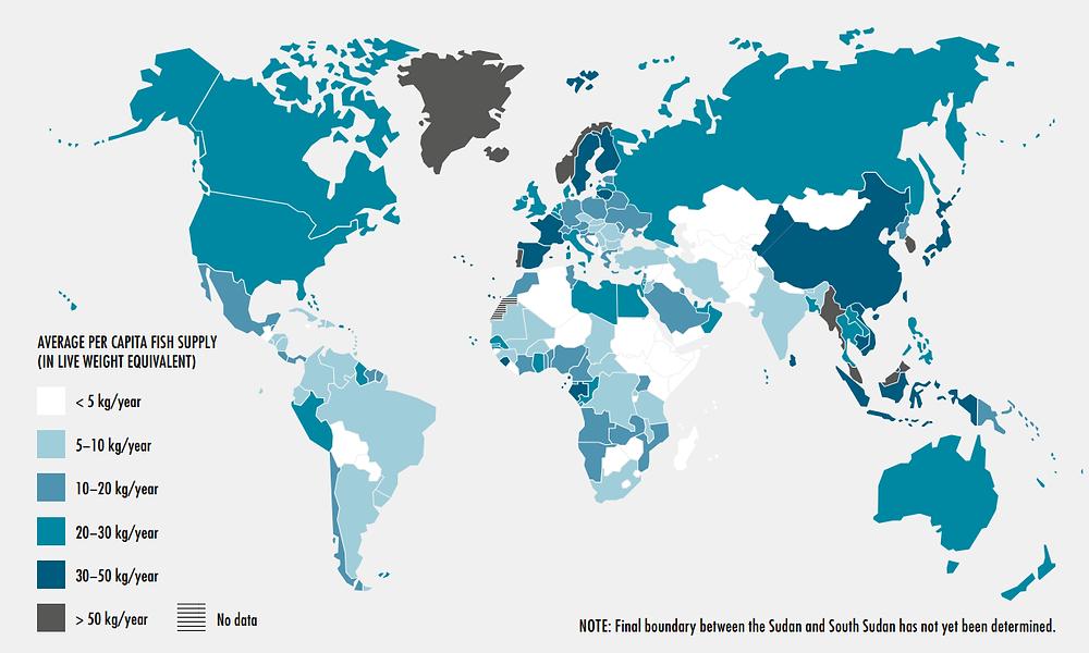 Сравнение объема потребления рыбы и рыбопродуктов на человека в год по странам